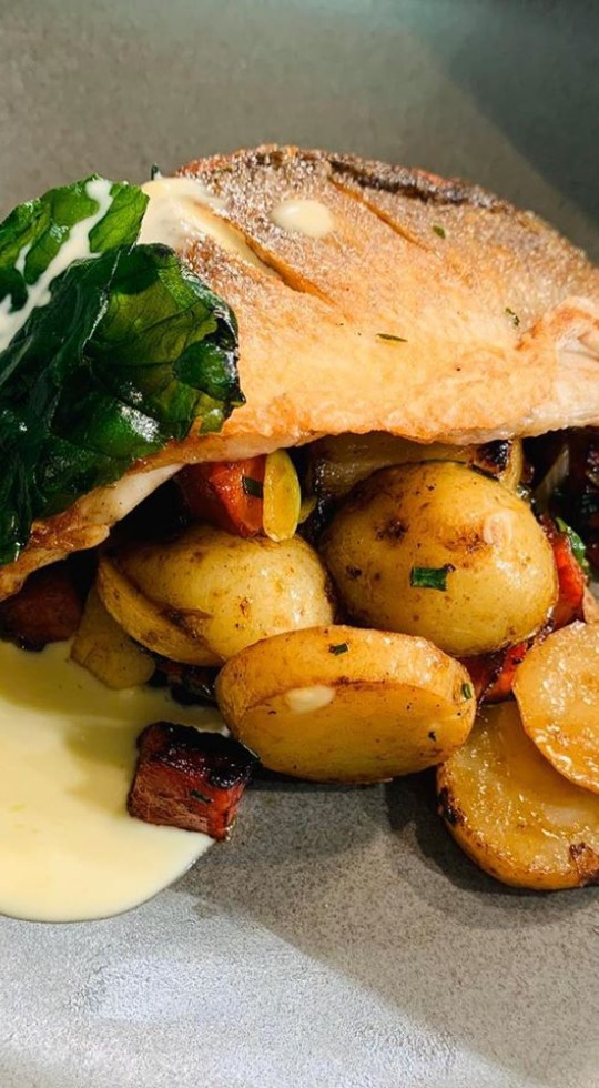 Fish dish at our Restaurant & Pub in Stanwick